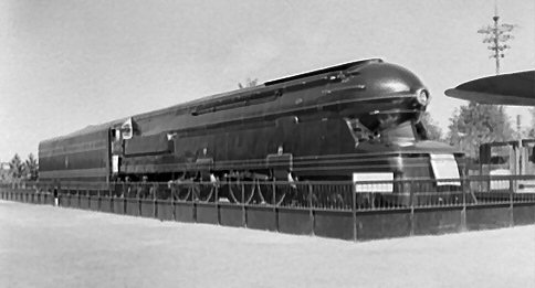 Penn RR S-1 Streamliner at NY World's Fair, 1939-40. This engine ran continuously at 60 mph (on a dynamometer) while the Fair was open.